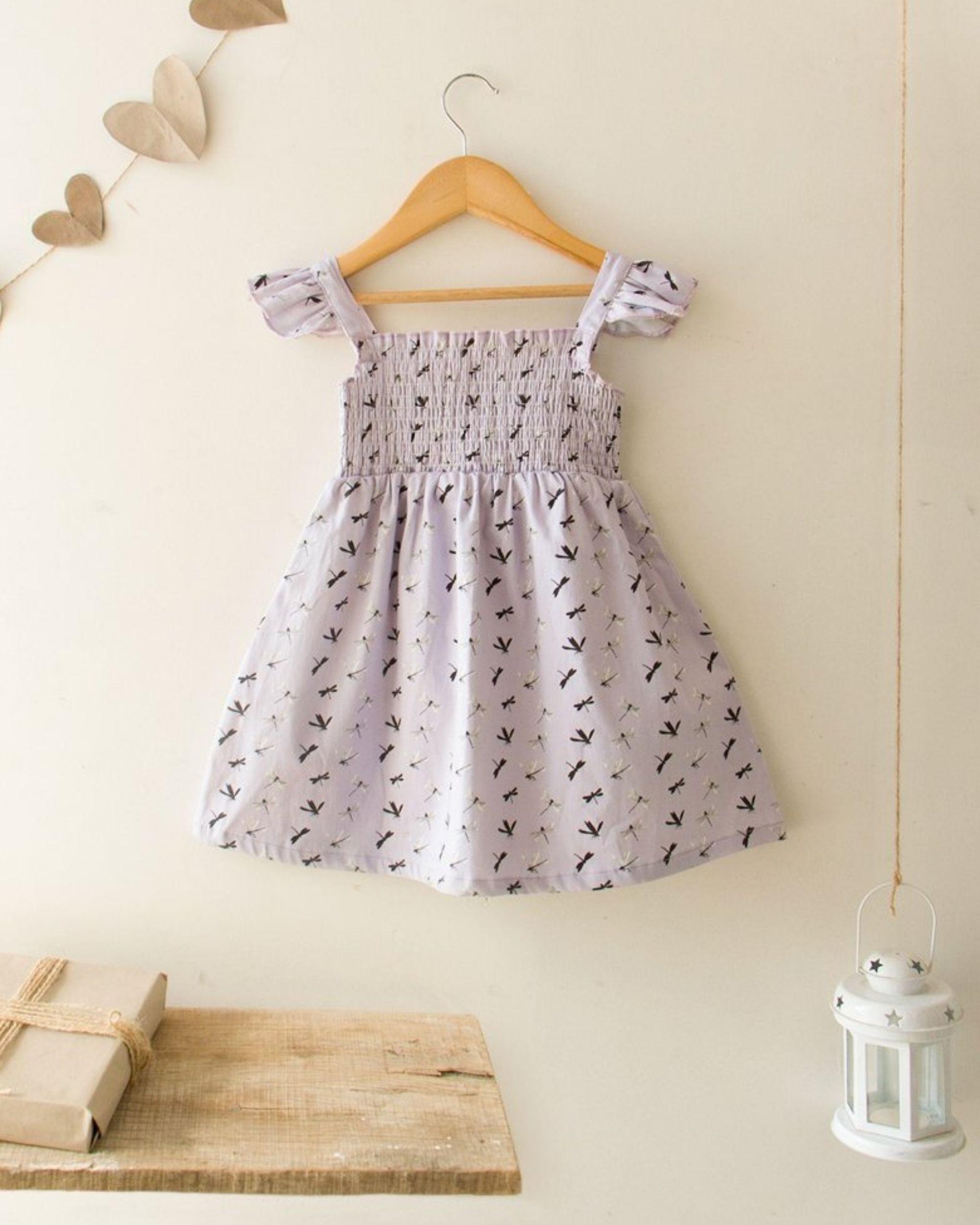 Lavender dragonfly smocked dress
