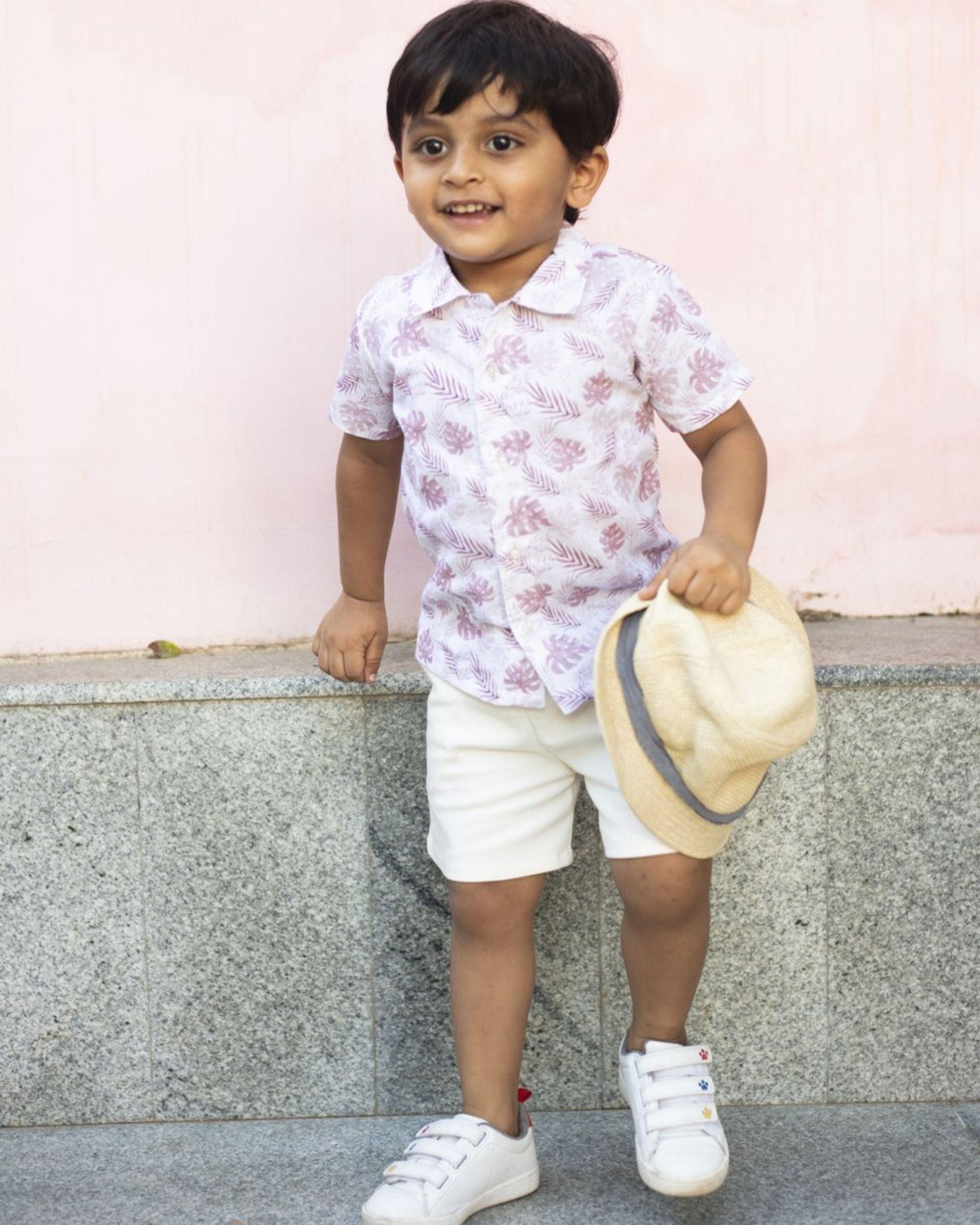 Pink tropical printed shirt