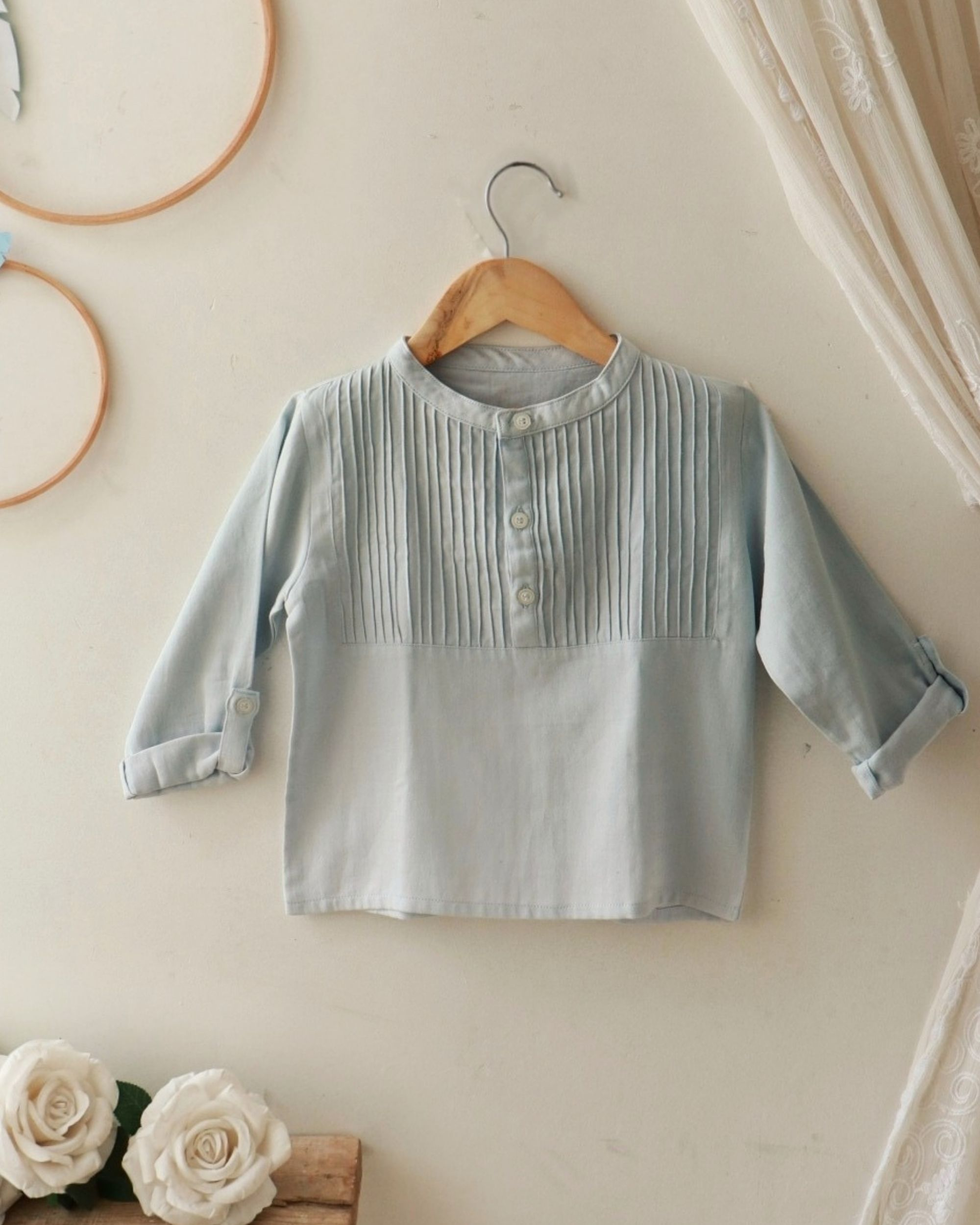 Pastel blue pin-tuck yoke shirt