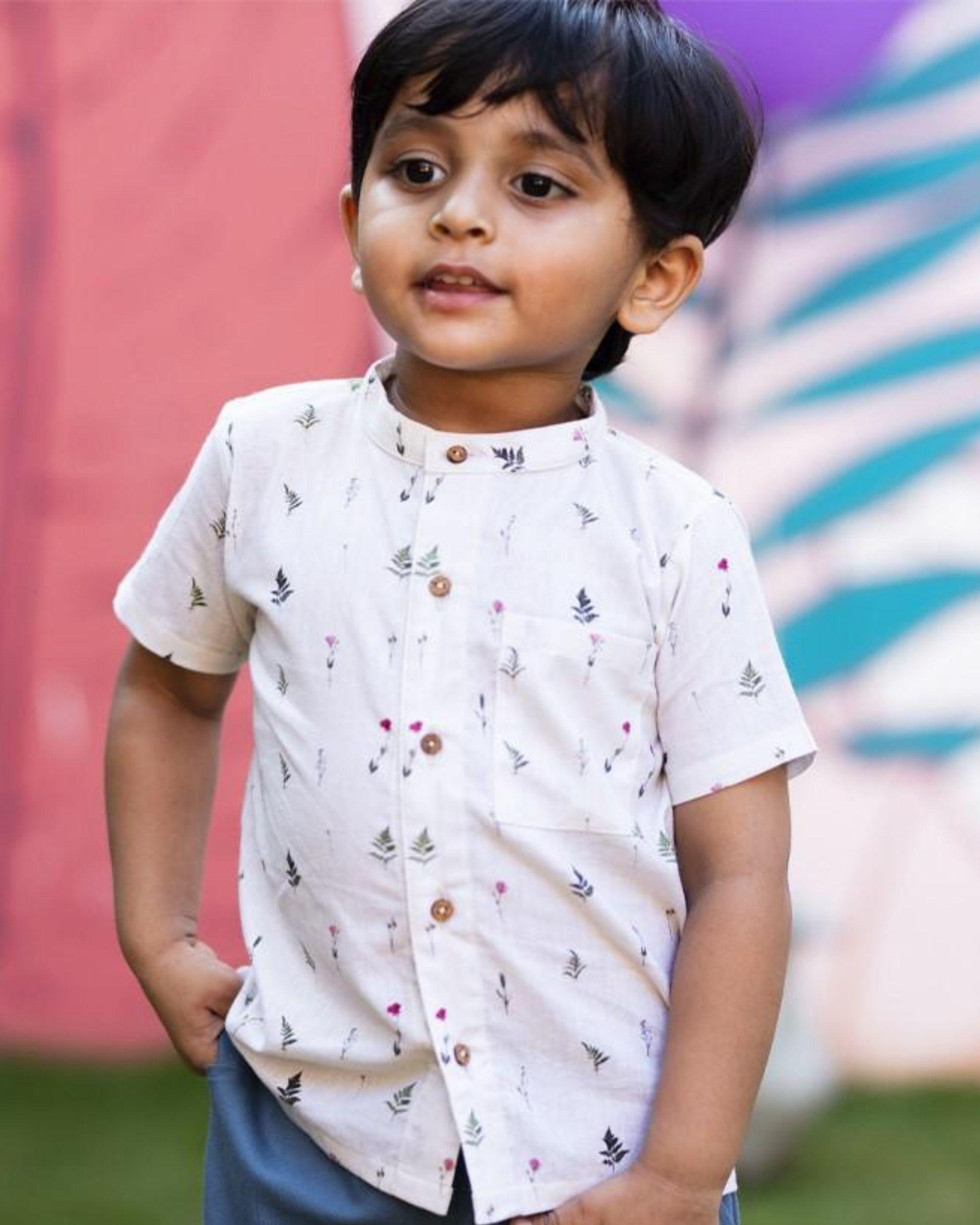 Beige ferns and rose printed shirt