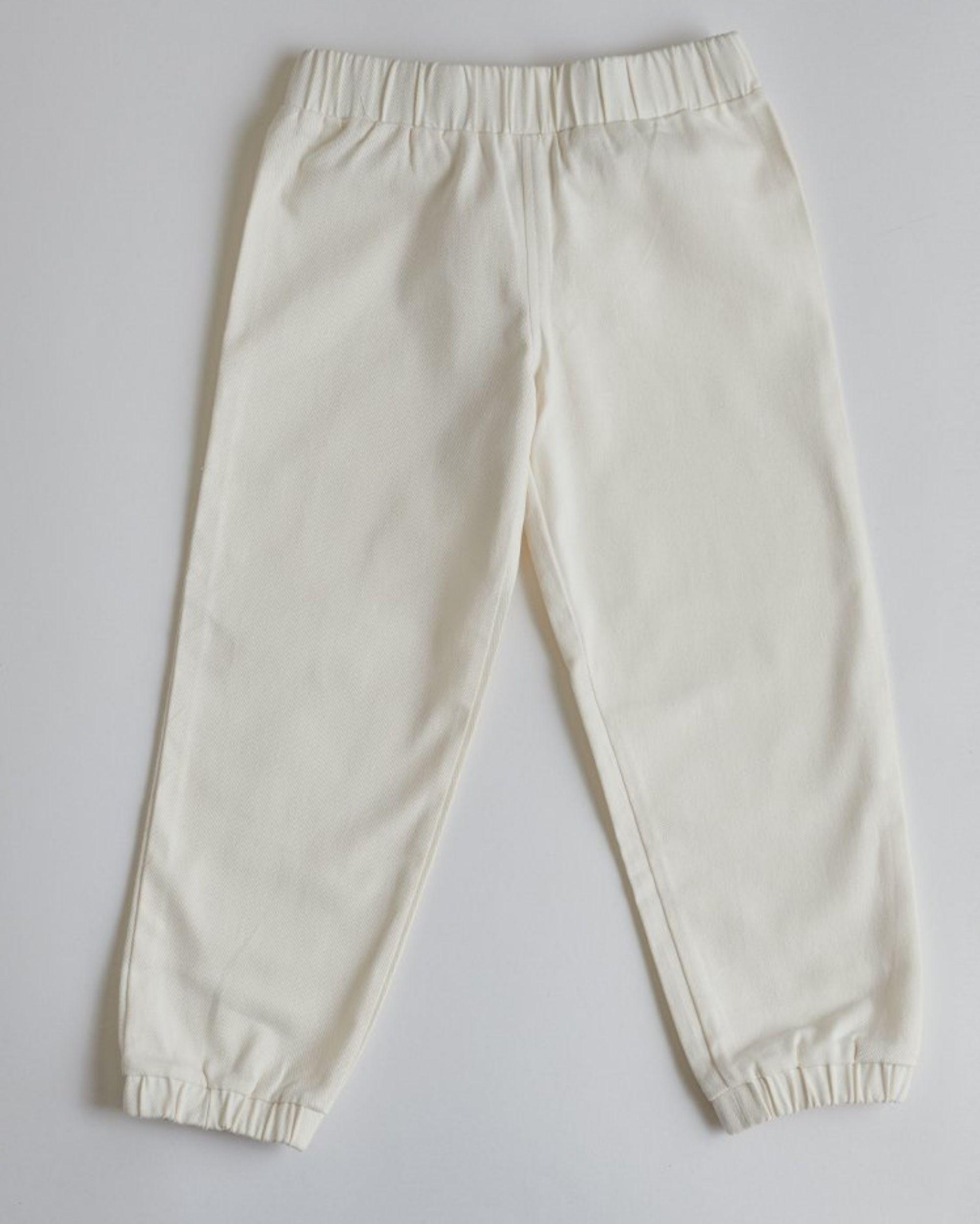 White organic cotton joggers