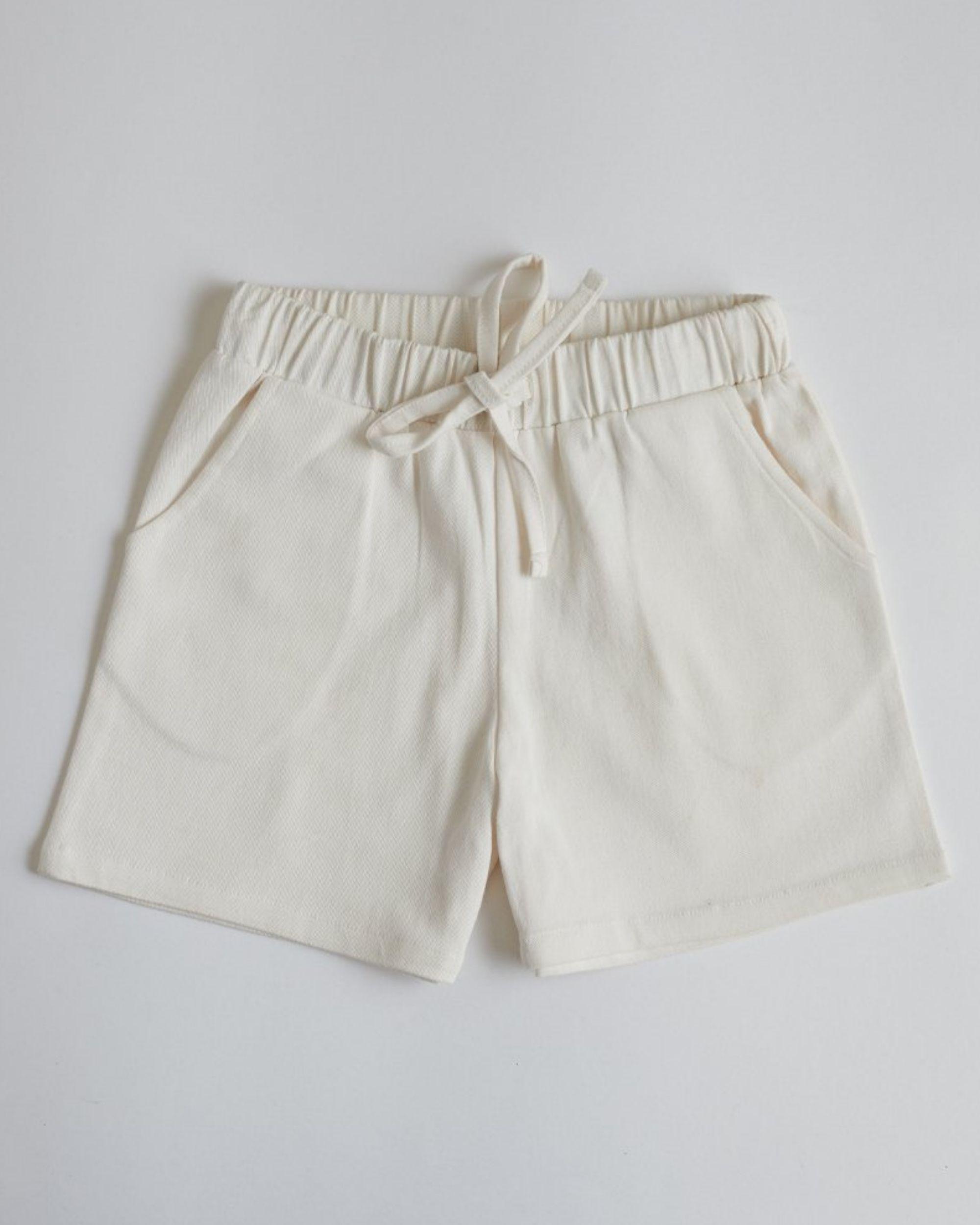 White organic cotton shorts