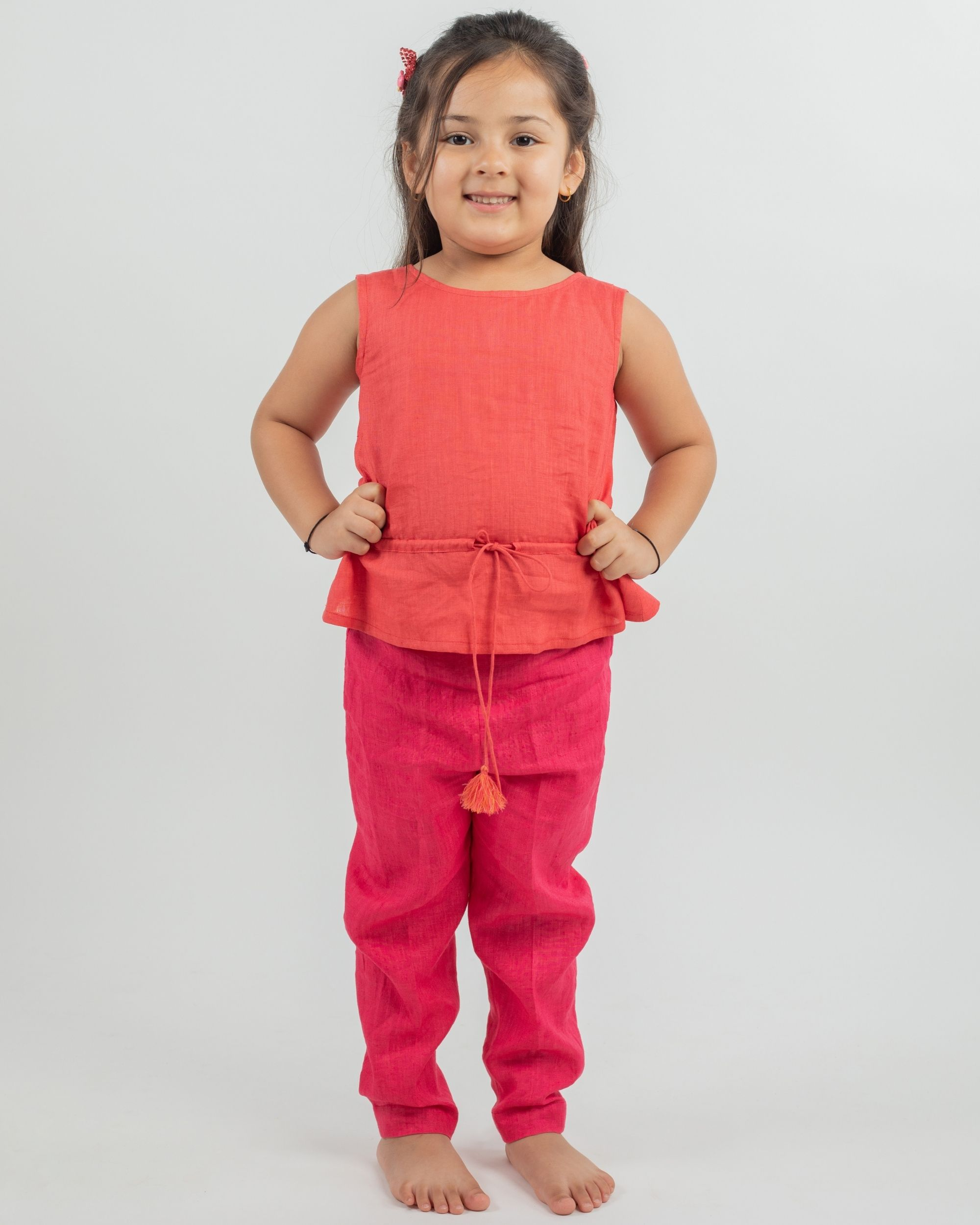 Linen rust top and pink pants - set of two