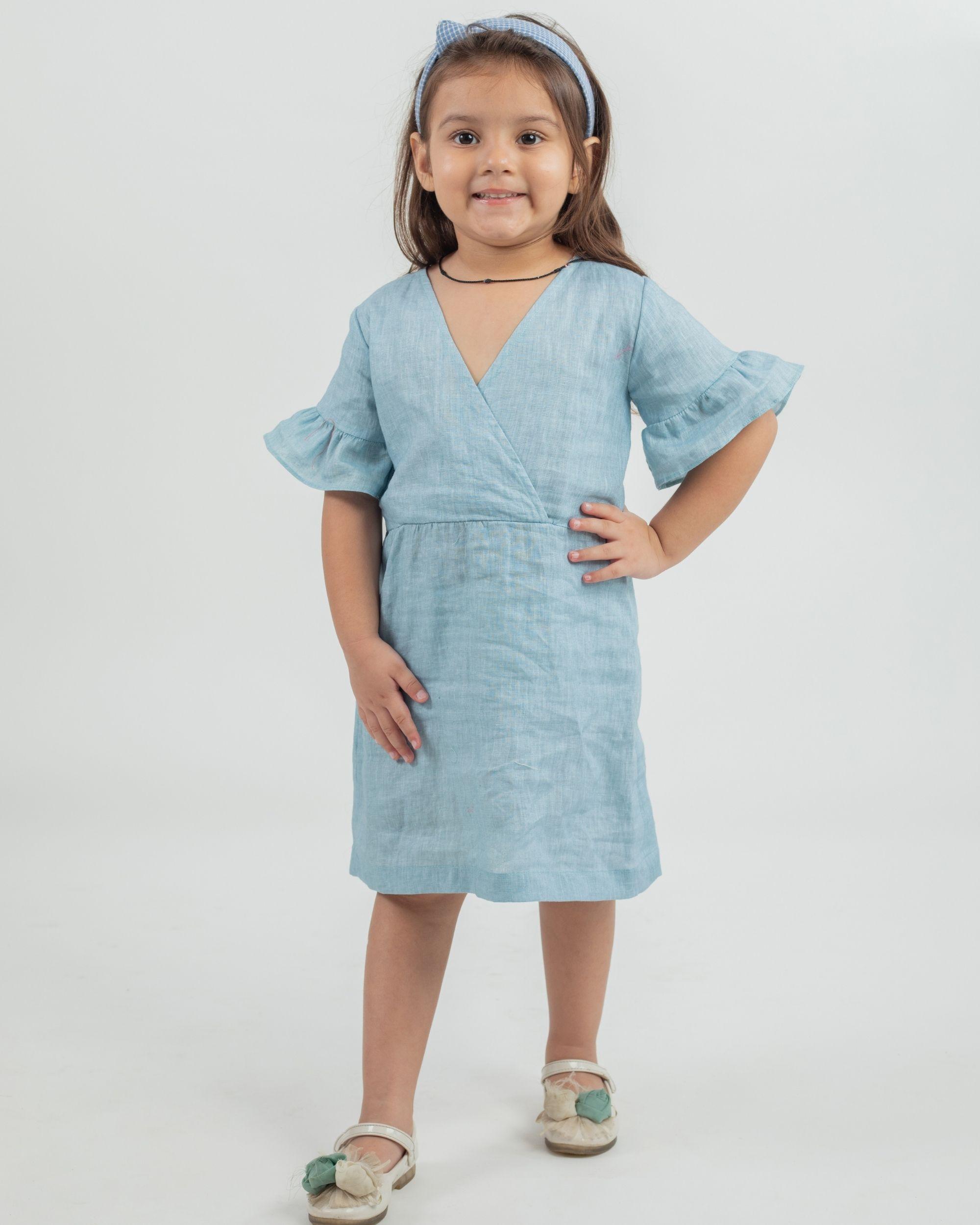 Powder blue linen frilled sleeve dress