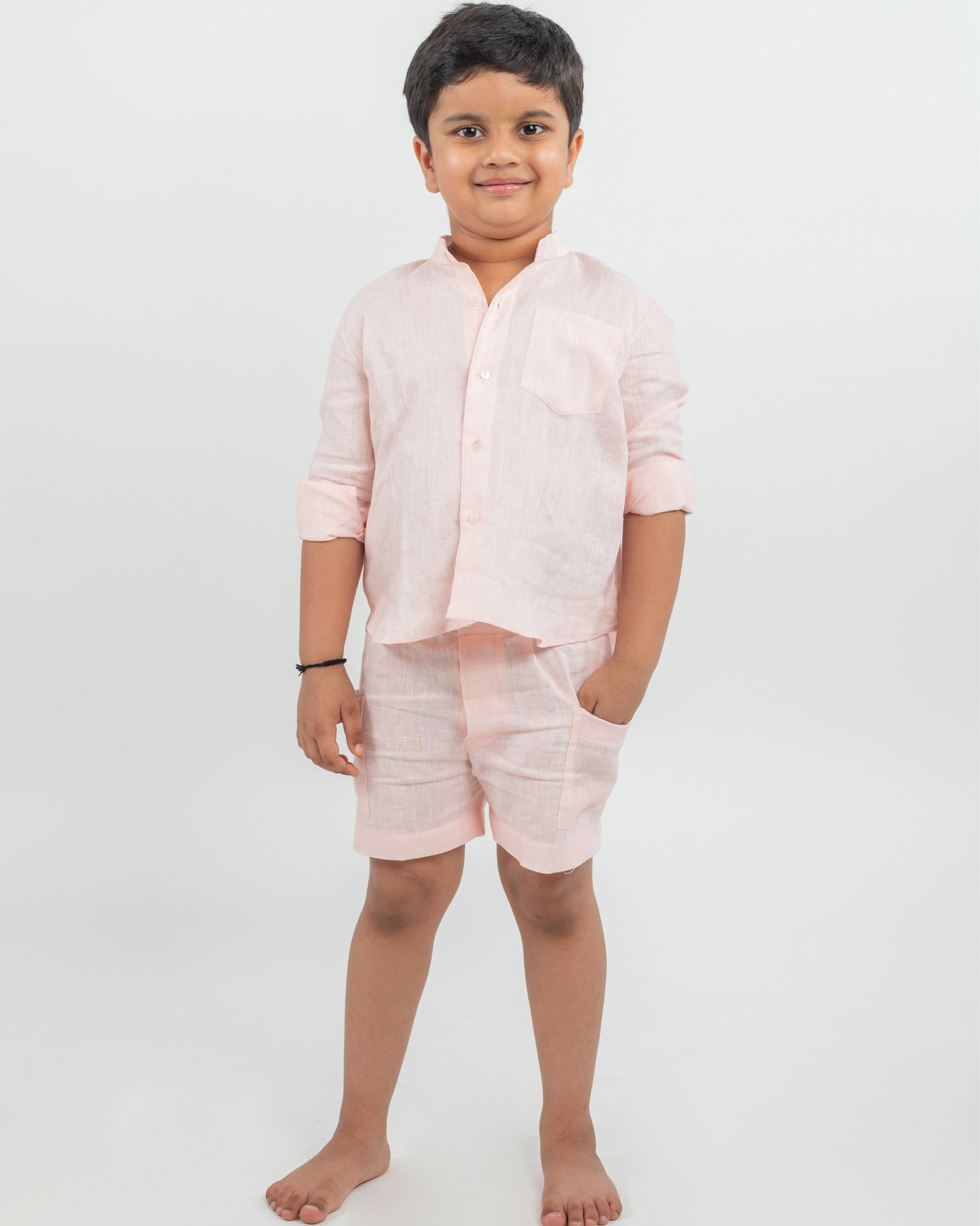 Peach linen shirt and shorts - set of two