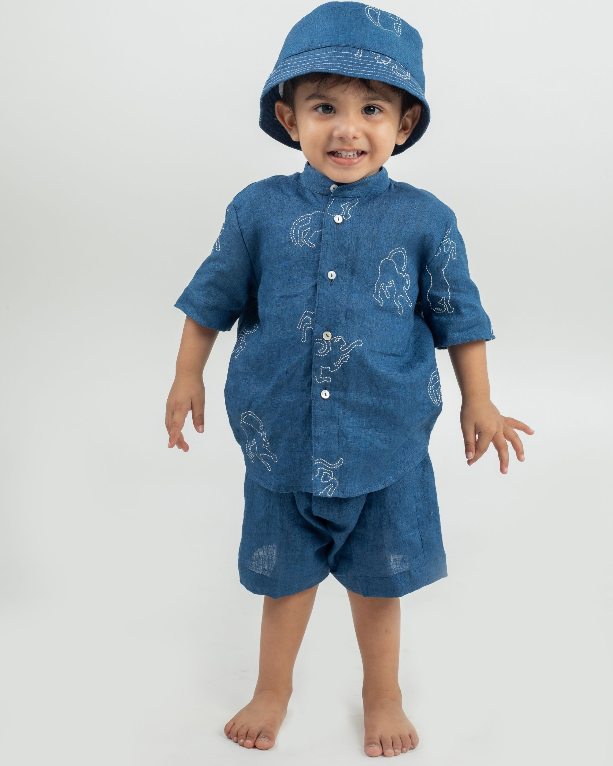 Blue animal hand embroidered shirt and shorts with bucket hat - set of three