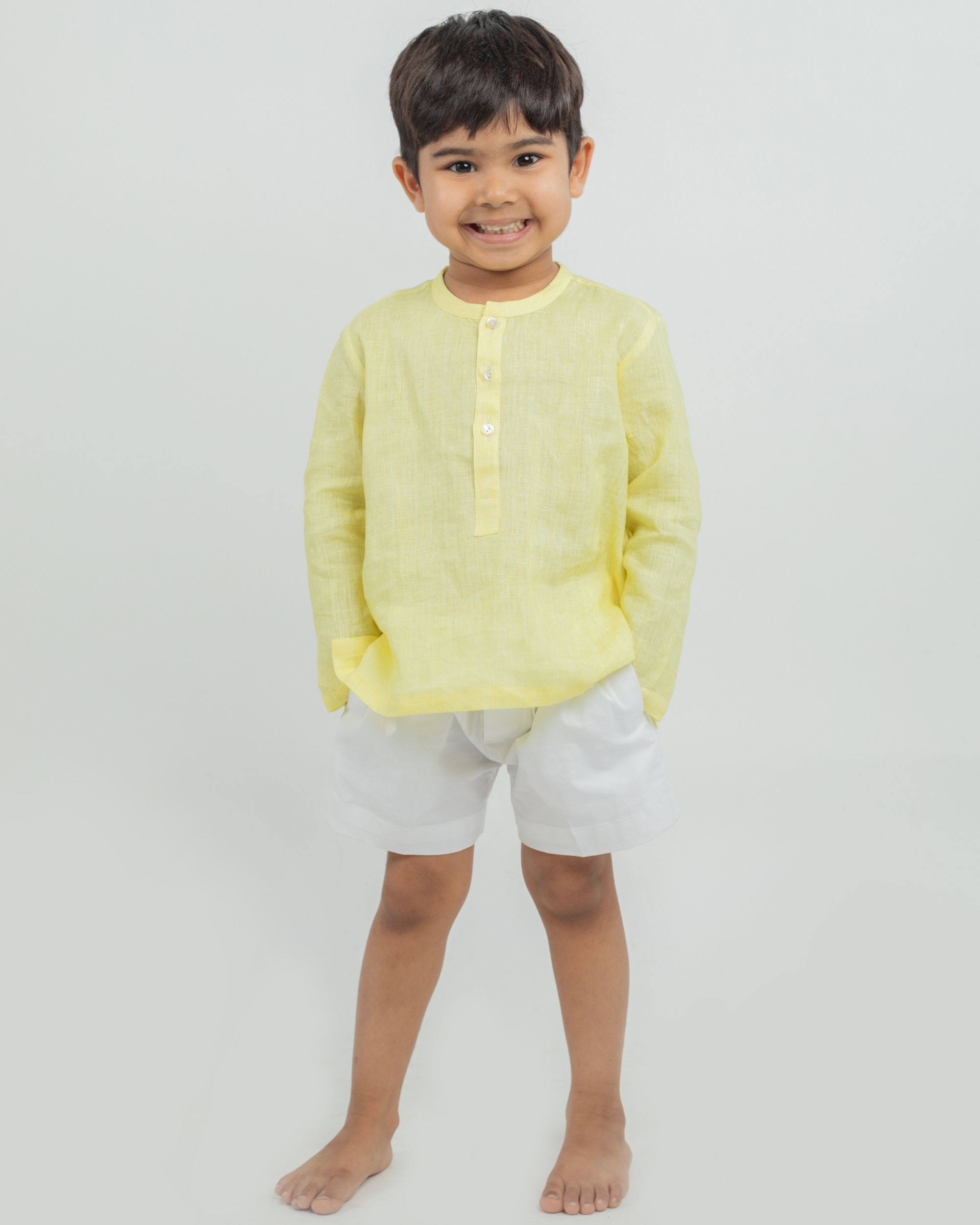 Yellow linen kurta and white shorts - set of two