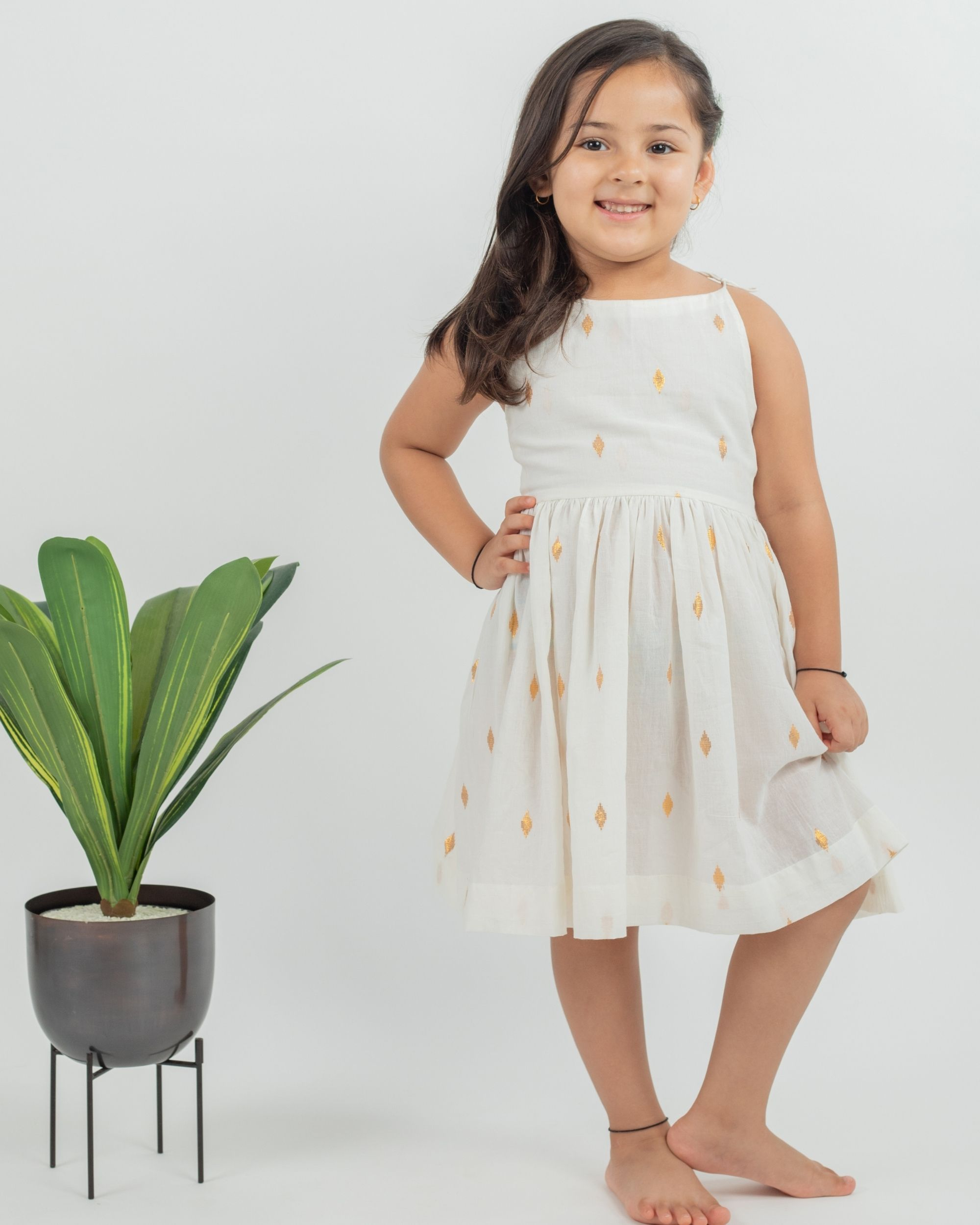 Off white zari boota cotton dress