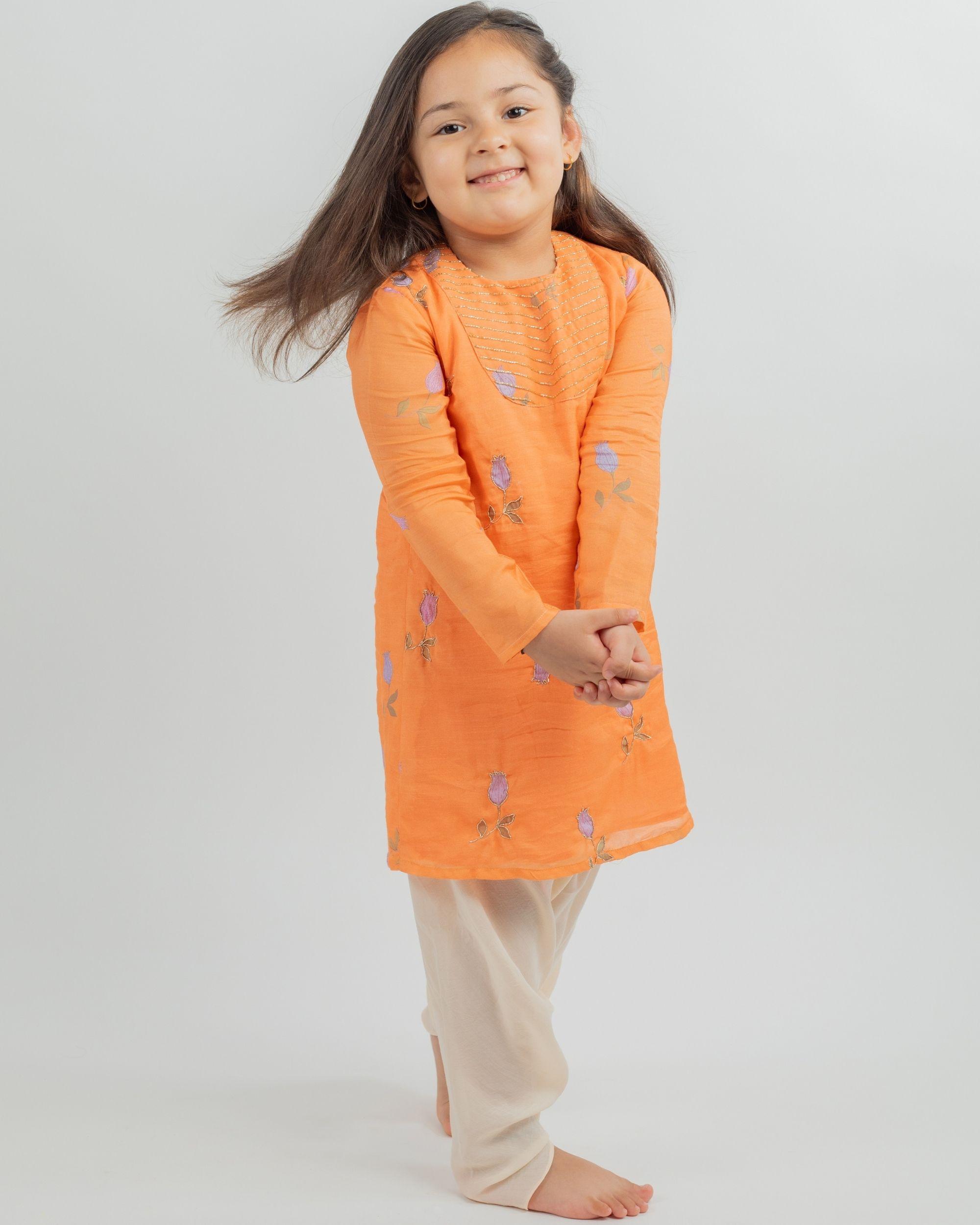 Orange digital print kurta and beige dhoti pants - set of two