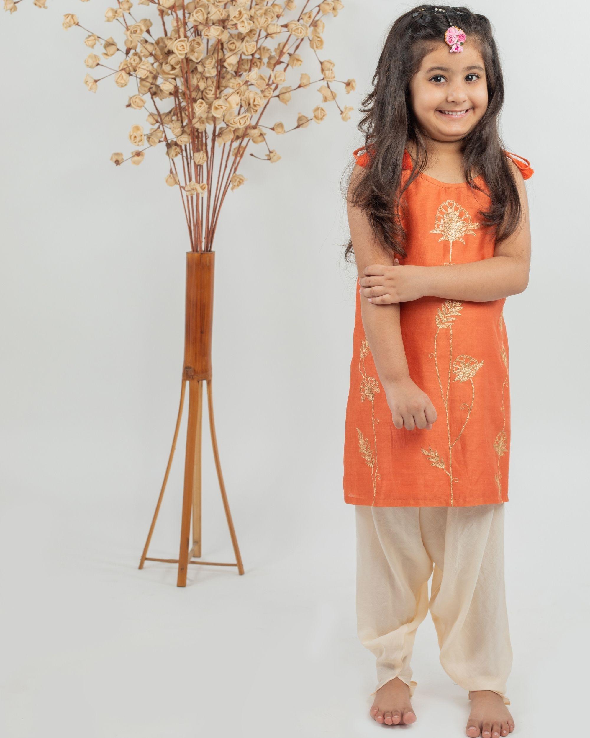 Orange chanderi floral kurta and beige muslin dhoti pants - set of two