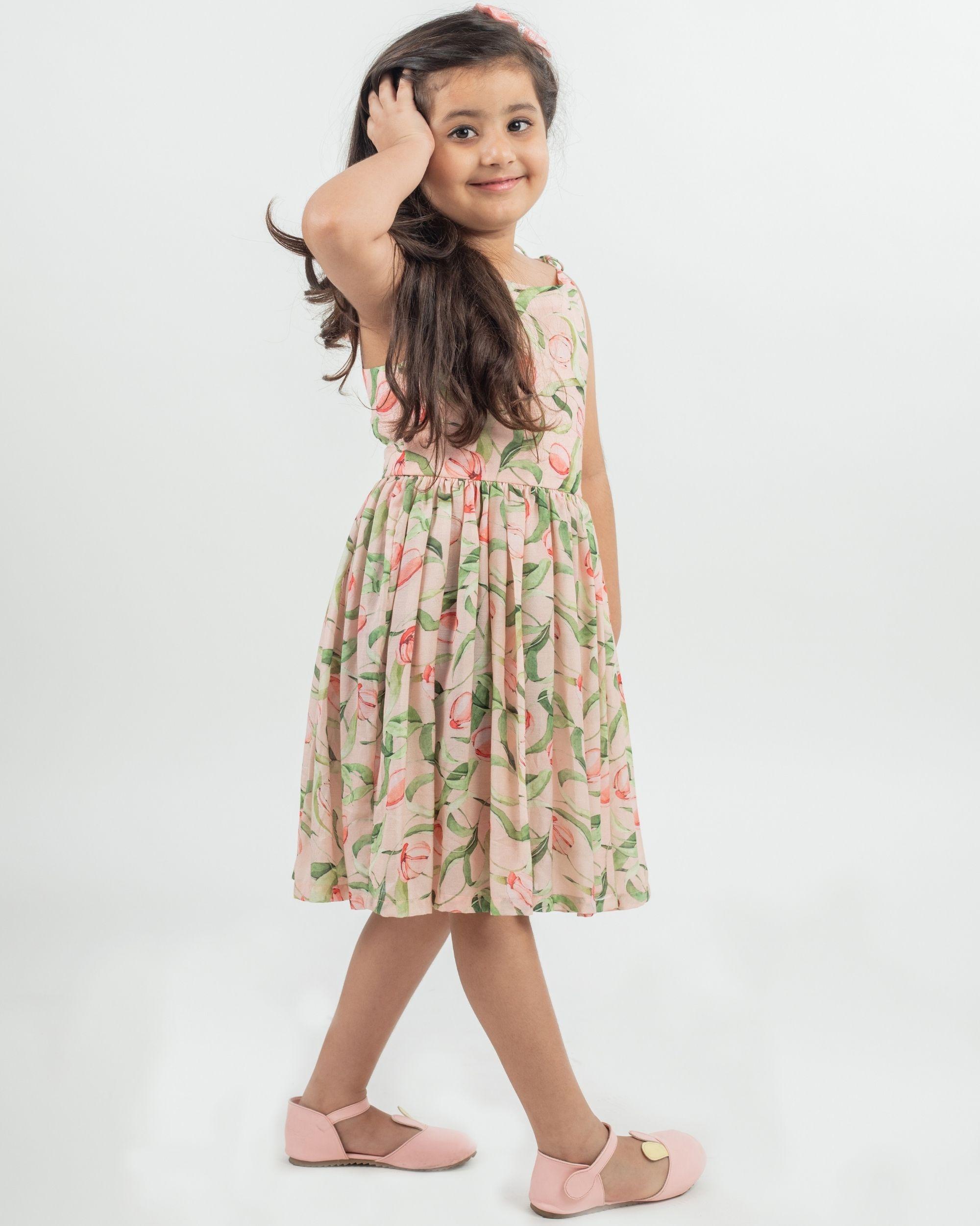 Beige floral printed knot dress