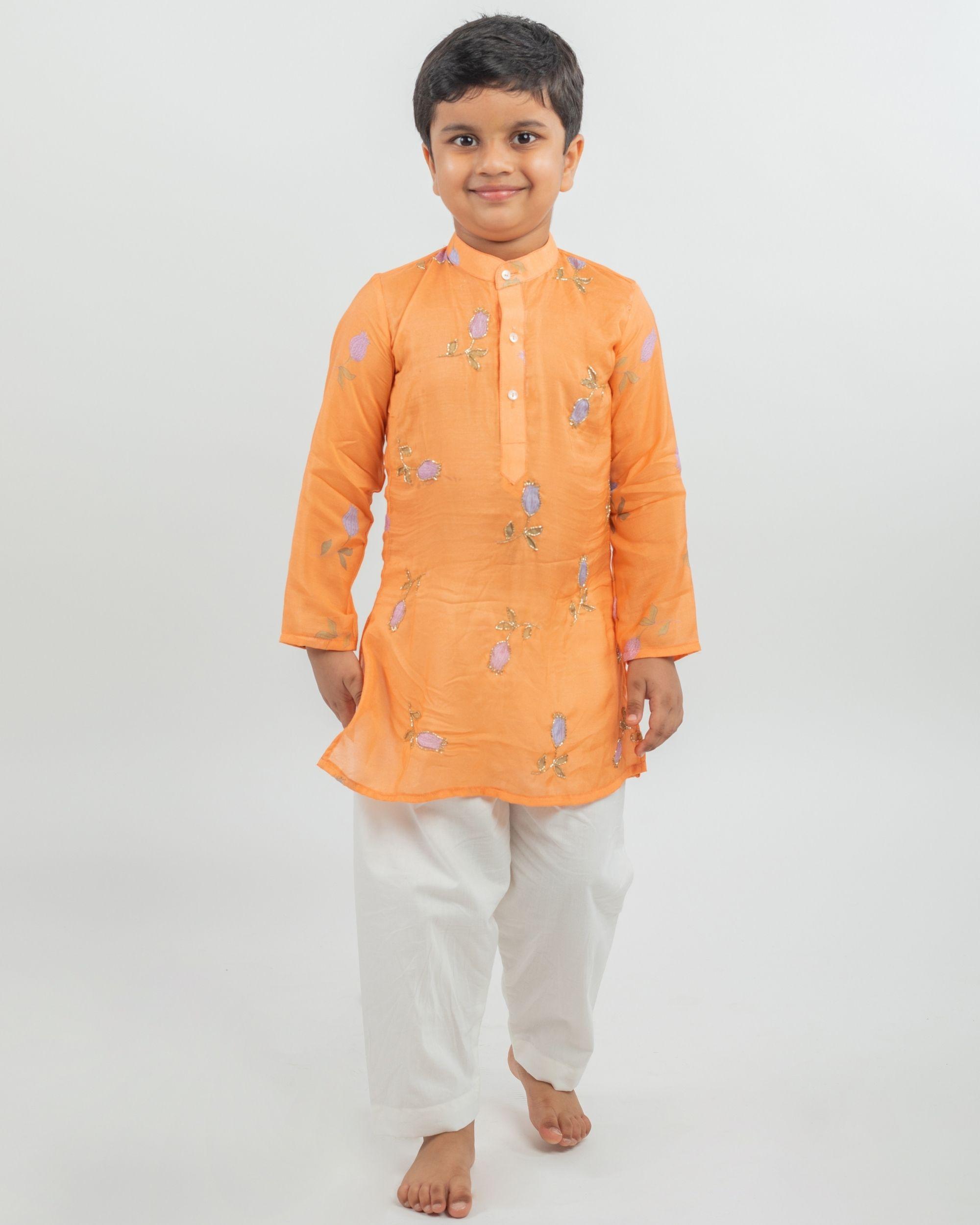 Orange digital printed hand work kurta and white pyjama - set of two