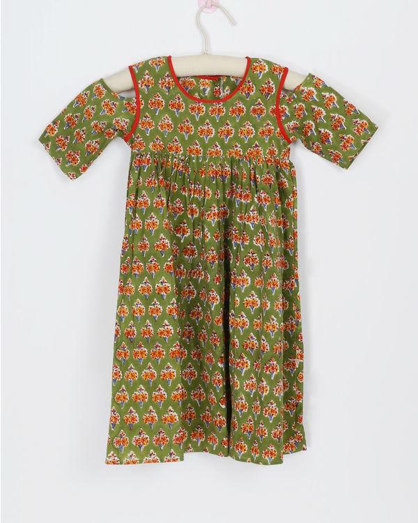 Green cold shoulder dress