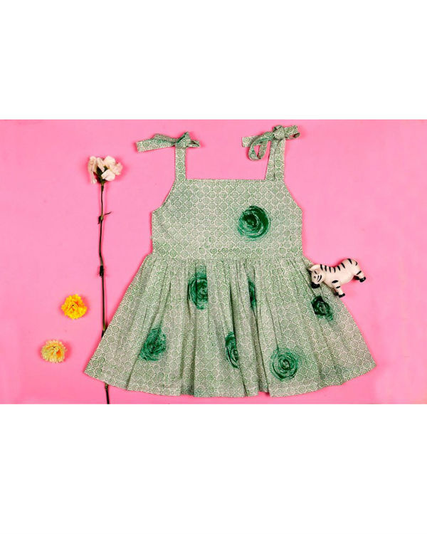 Green rose strappy dress
