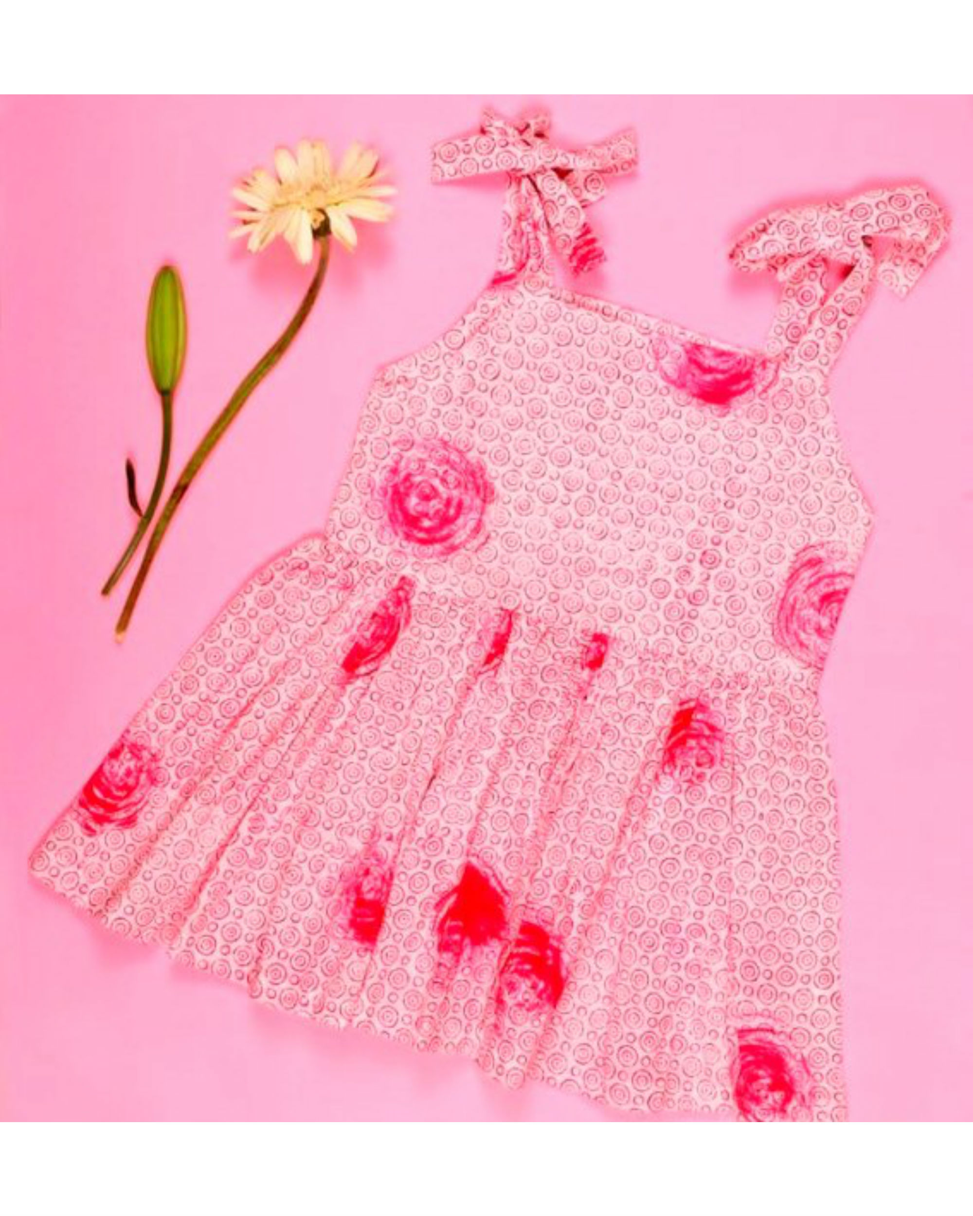 Pink rose strappy dress