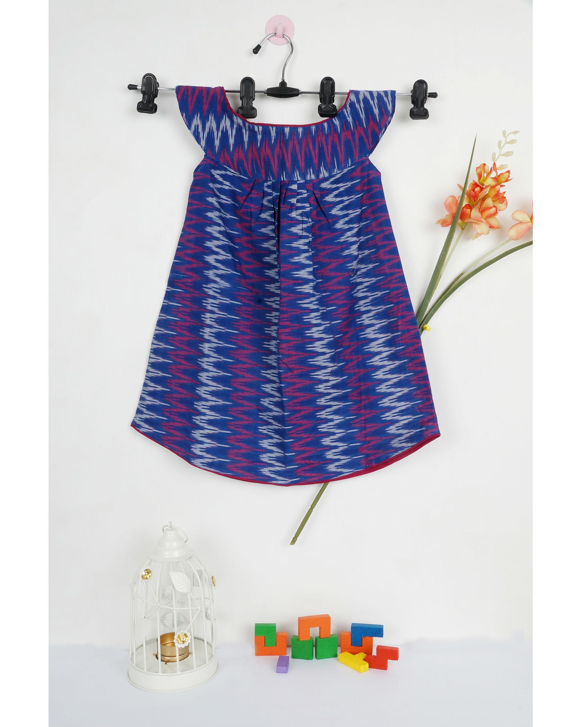 Zig zag ikat round collar dress