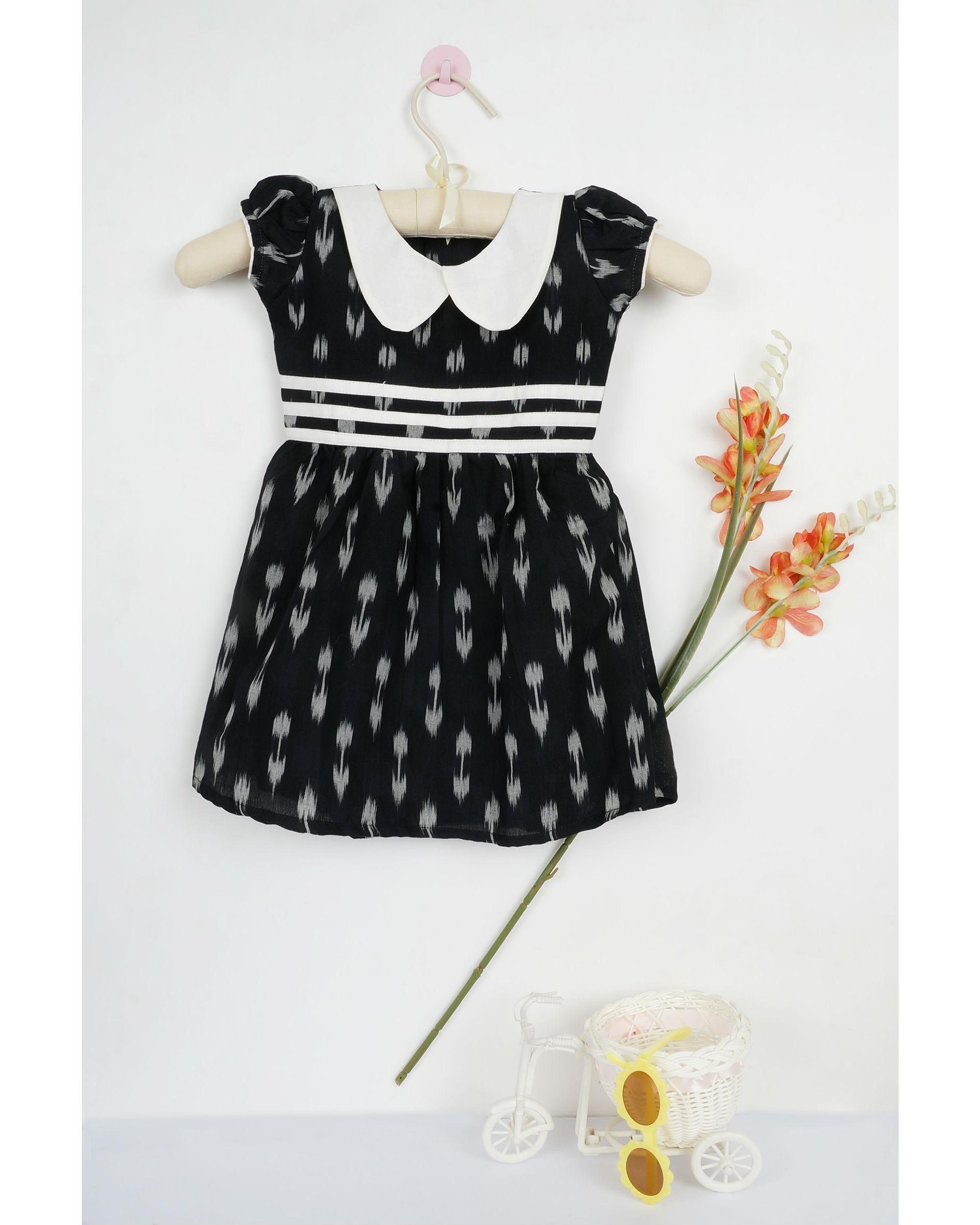 Black ikat flat collar dress