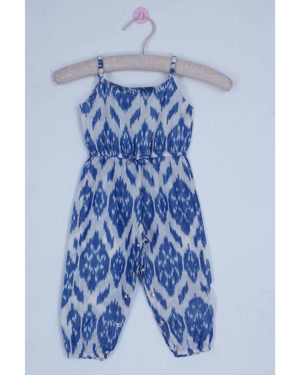Jade blue ikat jumpsuit
