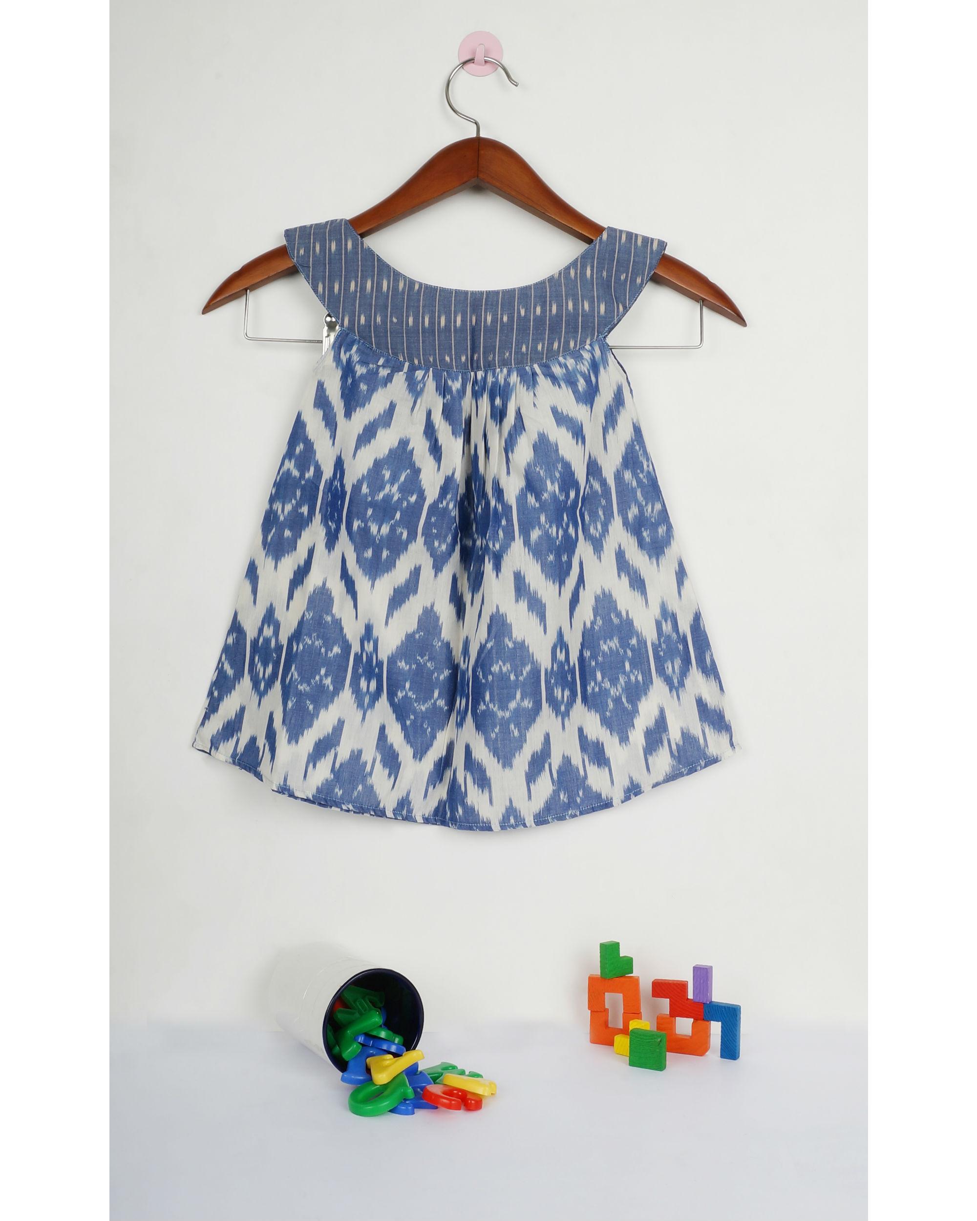 Jade blue round collar ikat dress