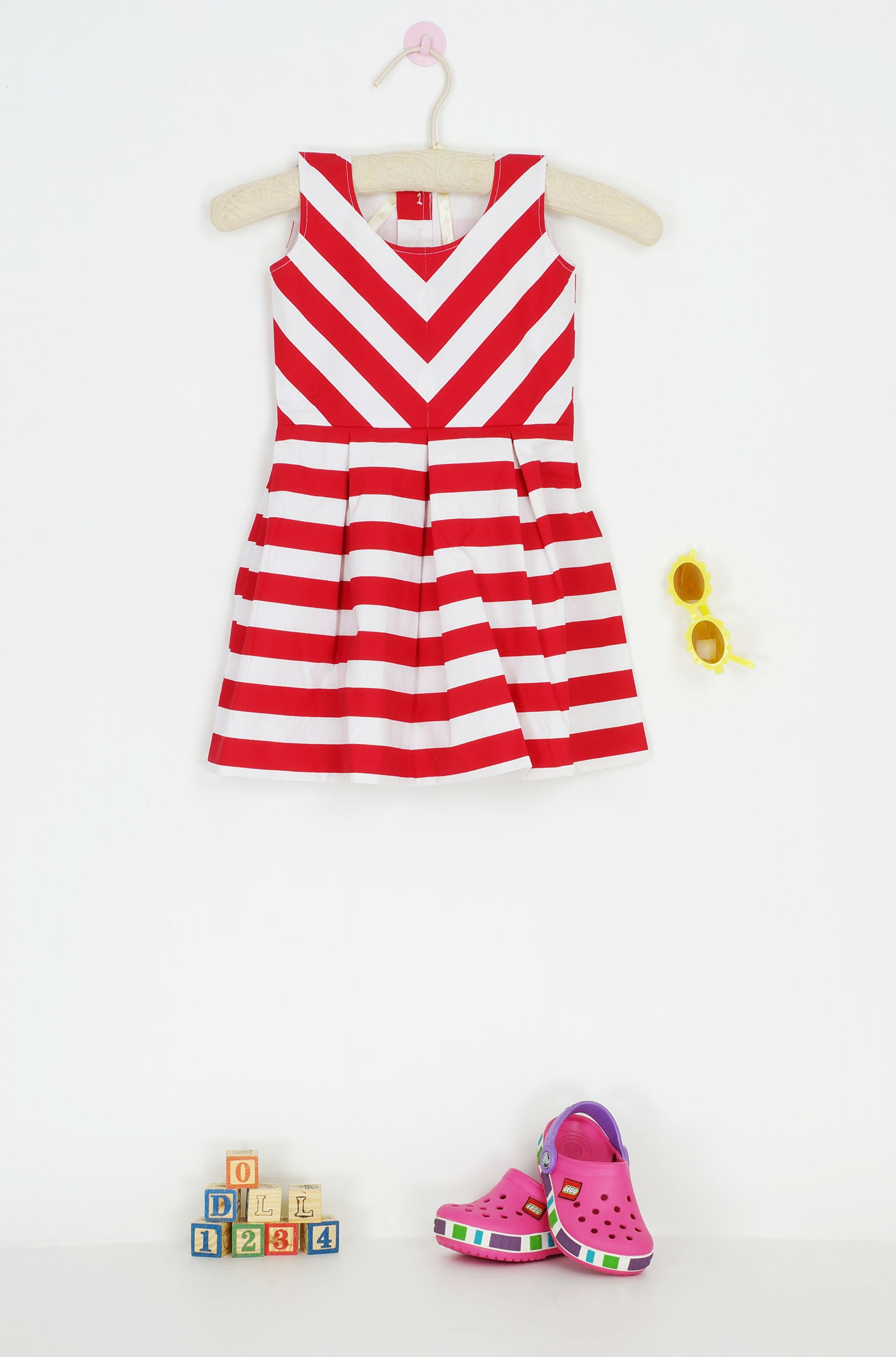 Red and white stripe frock