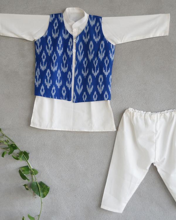 Blue ikat nehru jacket set