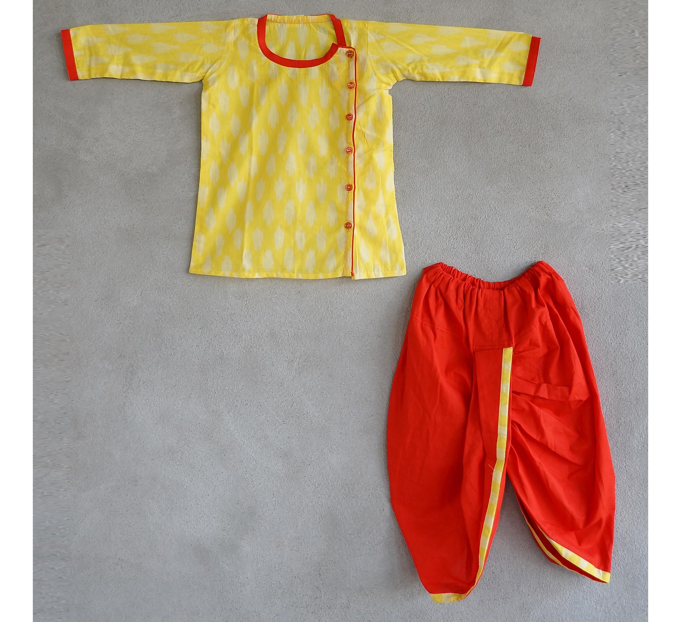 Set of yellow kurta and dhoti pants
