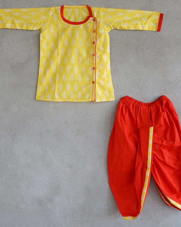 Set of yellow kurta and dhoti pants