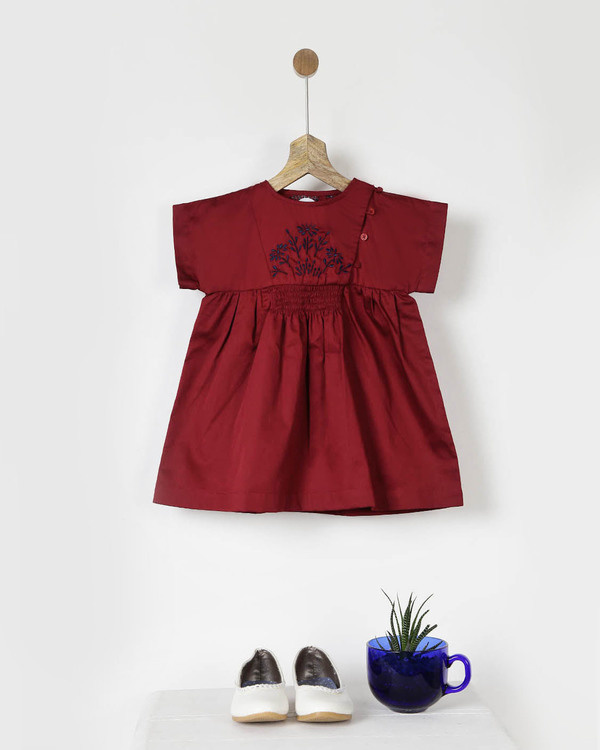 Embroidered maroon smocked dress