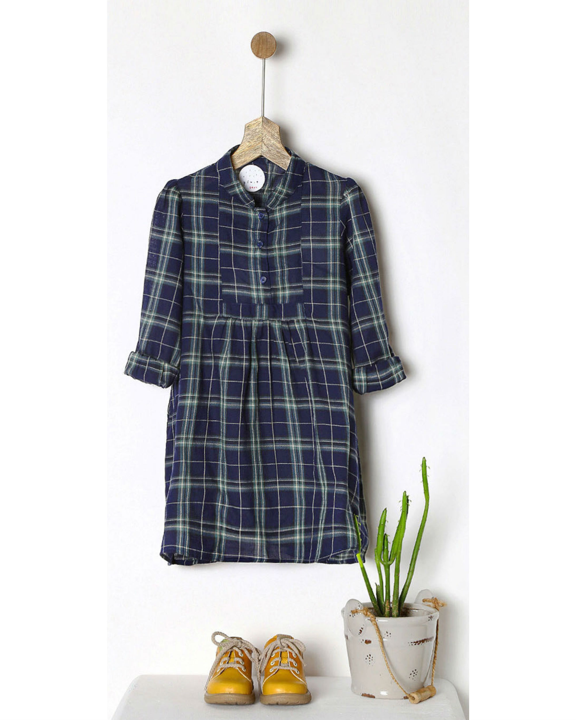Navy & green checkered dress