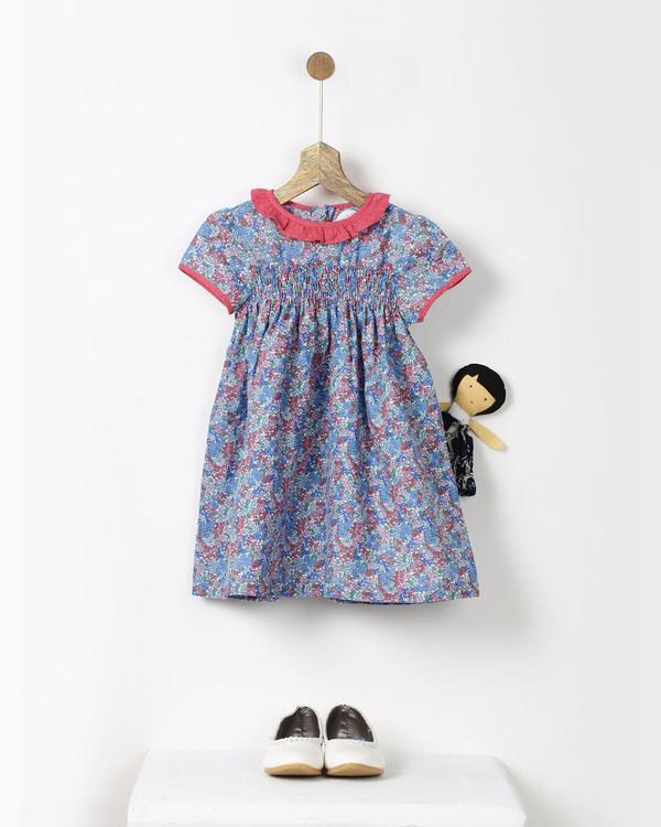 Blue floral print vintage smock dress
