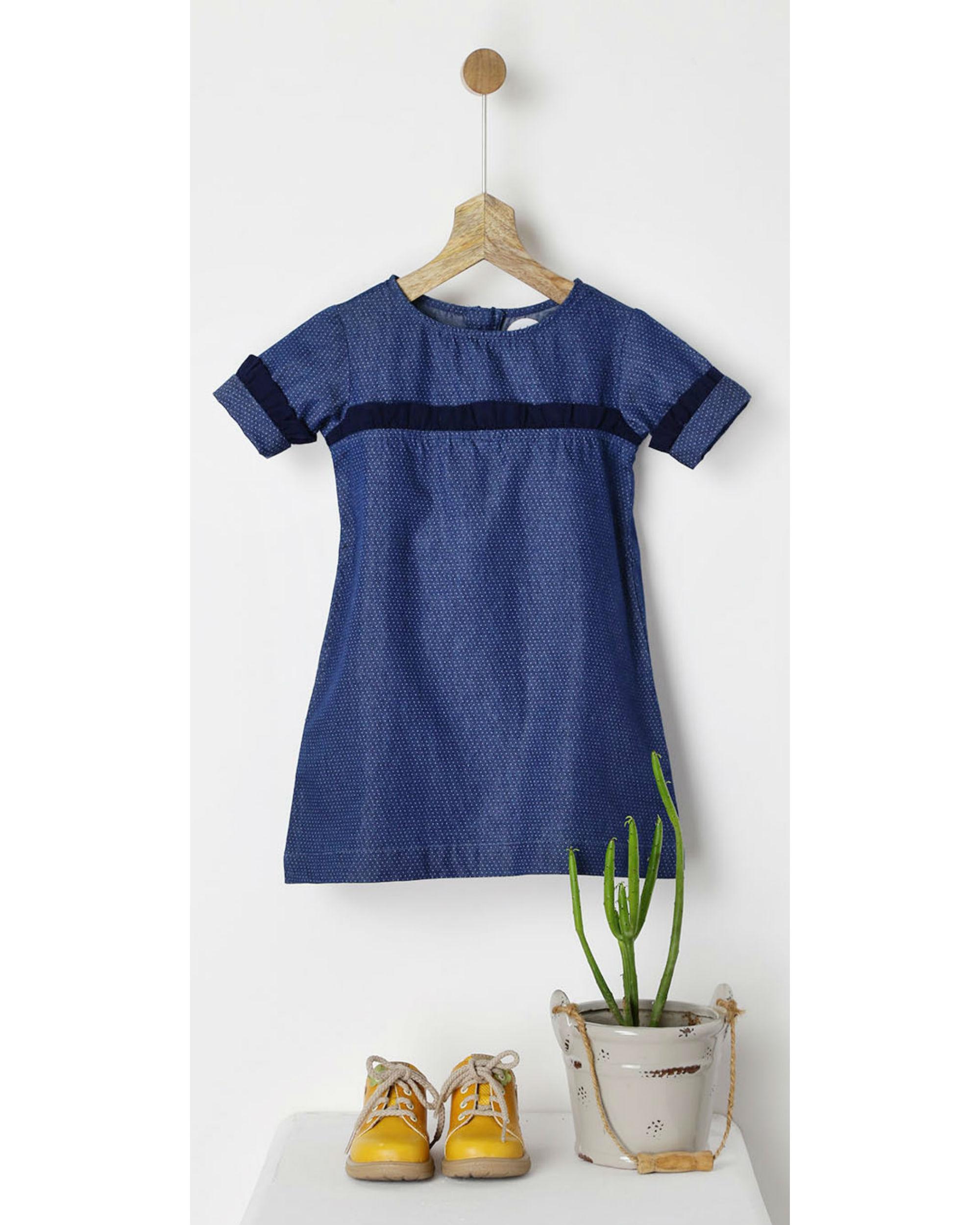 Navy polka dot print shift dress with ruffles