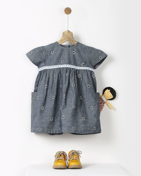 Grey chambray sunflower print dress