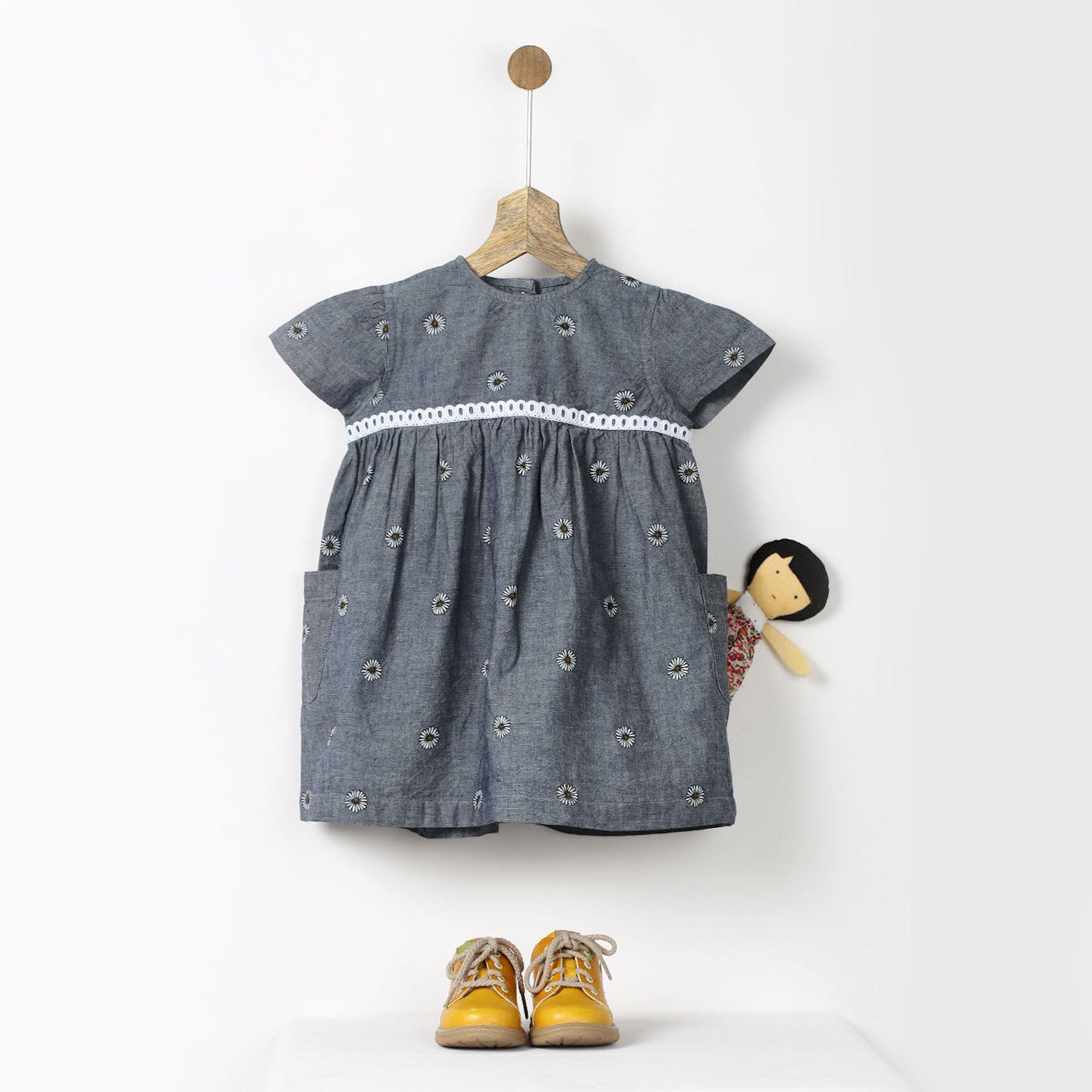 Grey chambray sunflower print dress
