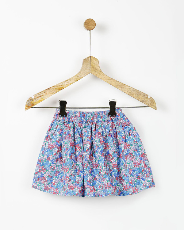 Floral print gathered skirt with pockets