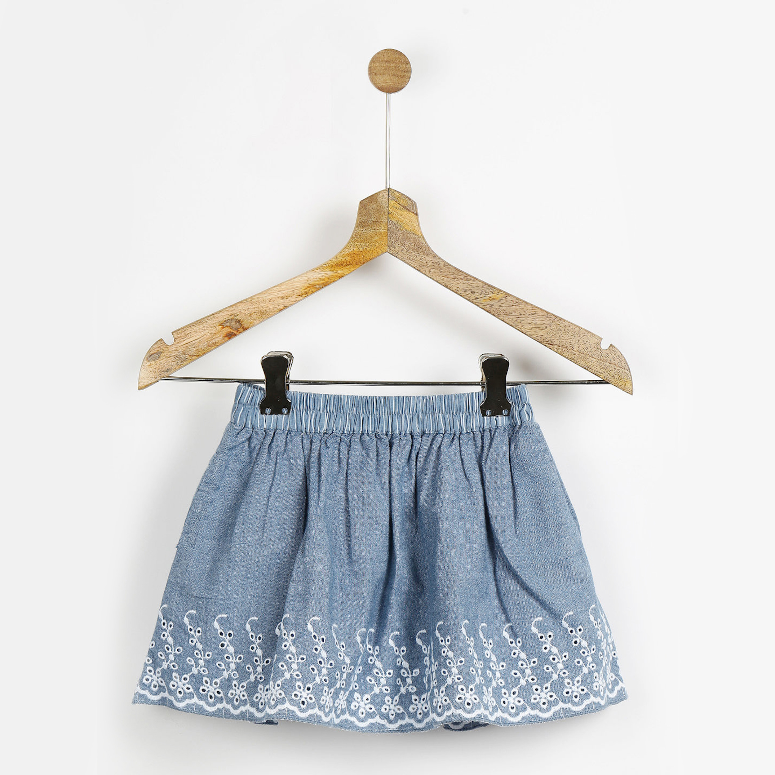 Blue embroidered gathered skirt