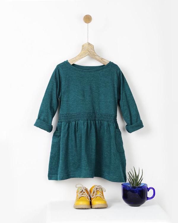 Teal green smocked t-shirt dress