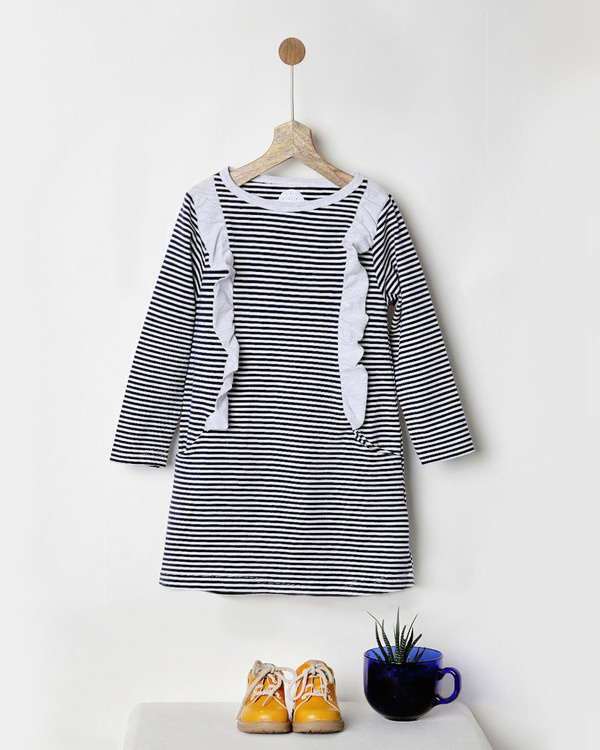 Blue & white striped jersey dress with pockets