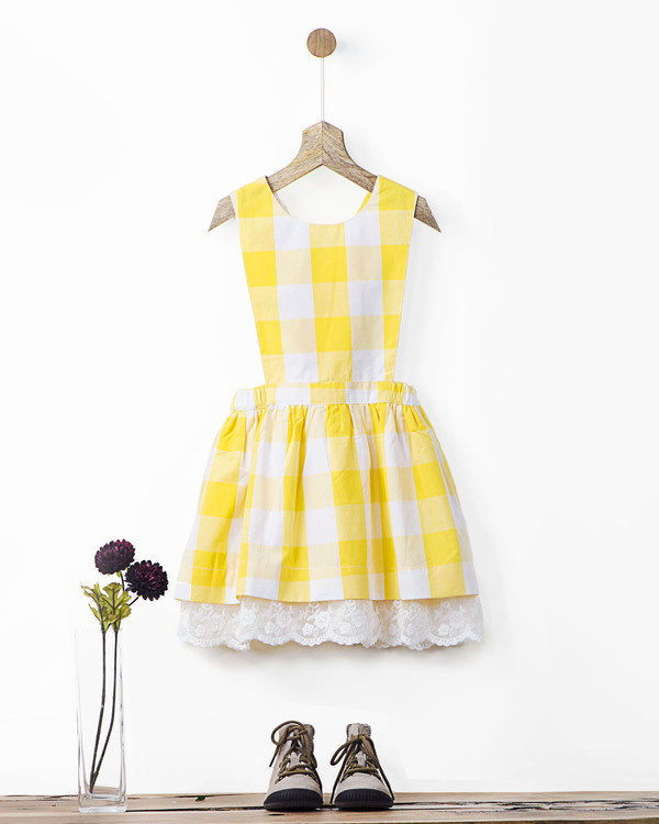 Yellow gingham checks pinafore with lace hem
