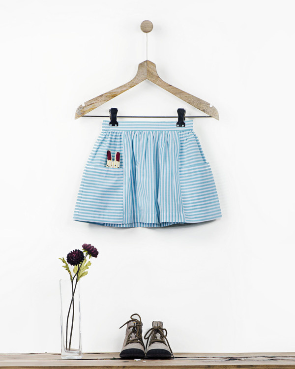 Mint striped skirt with fabric brooch