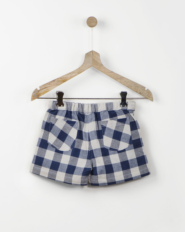 Blue gingham check shorts