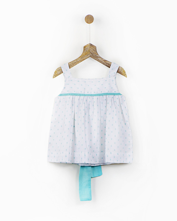 White and mint cotton dress