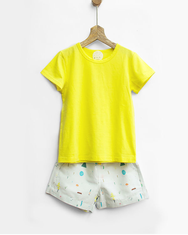 Yellow tee with shorts