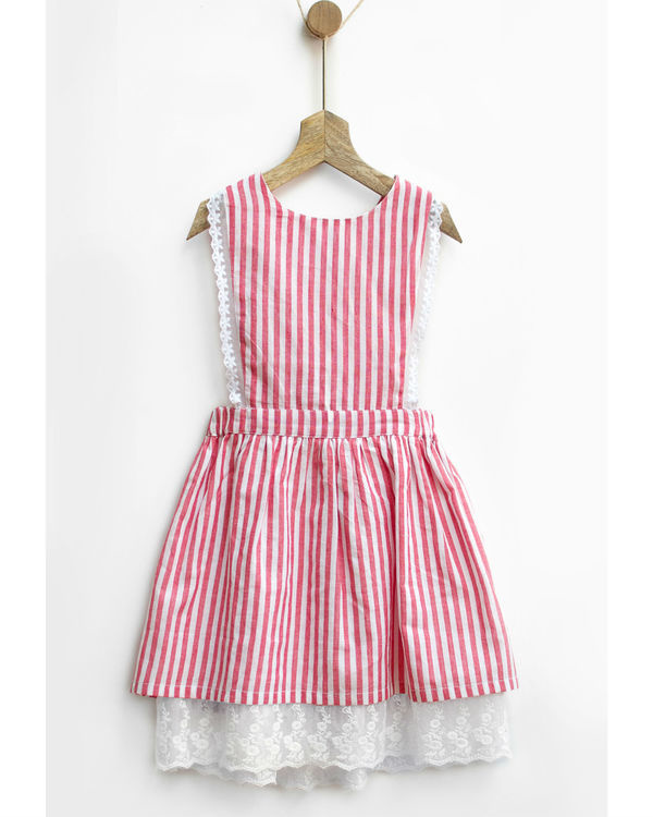Red gingham stripes pinafore