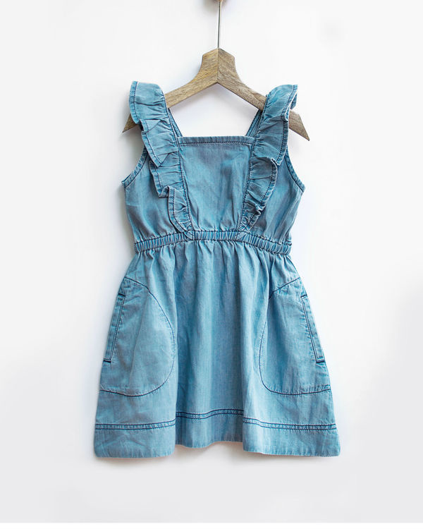 Ice wash ruffled denim pinafore