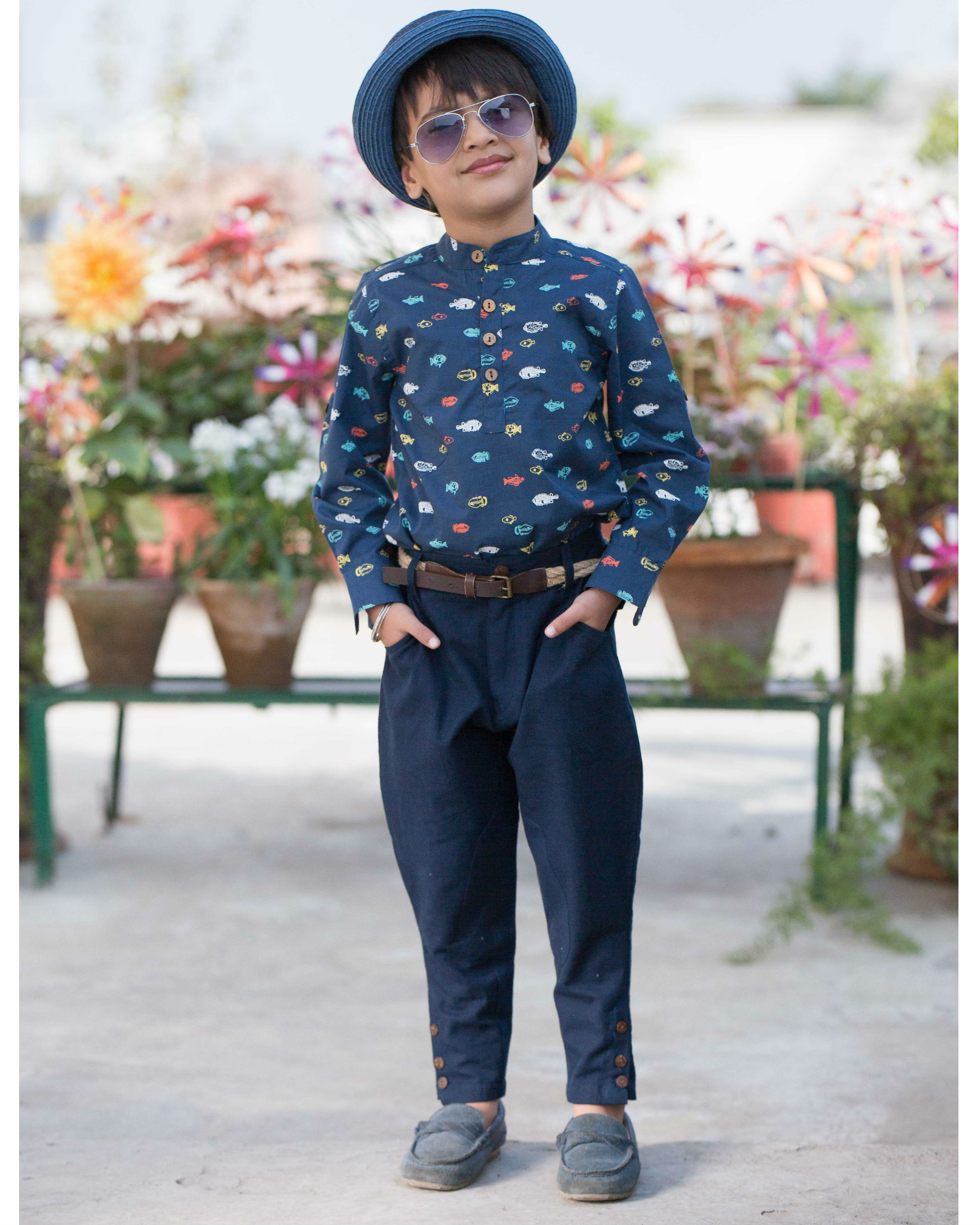 Printed shirt with jodhpuri pants