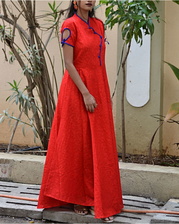 Red fit and flare dress with dupatta 1
