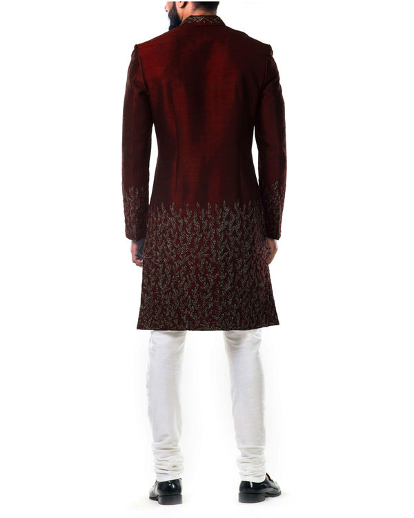 Maroon hand embroidered thread work sherwani set 2