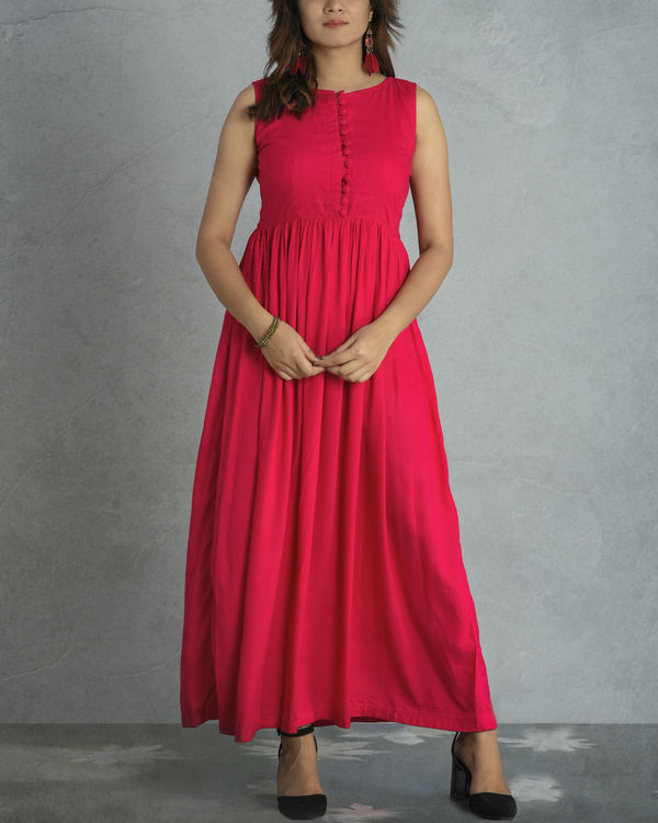Pink gathered jacket dress 2