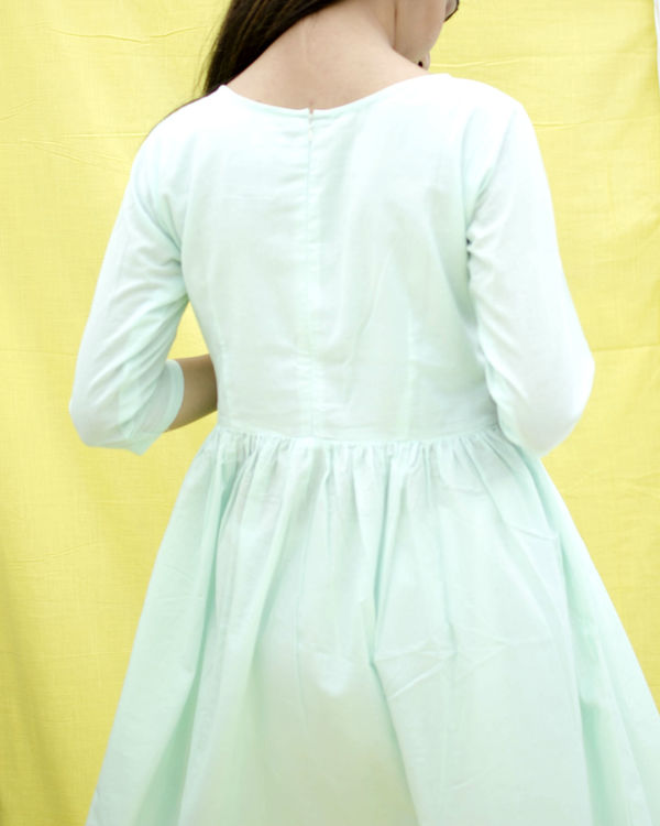 Ice blue gathered dress 1