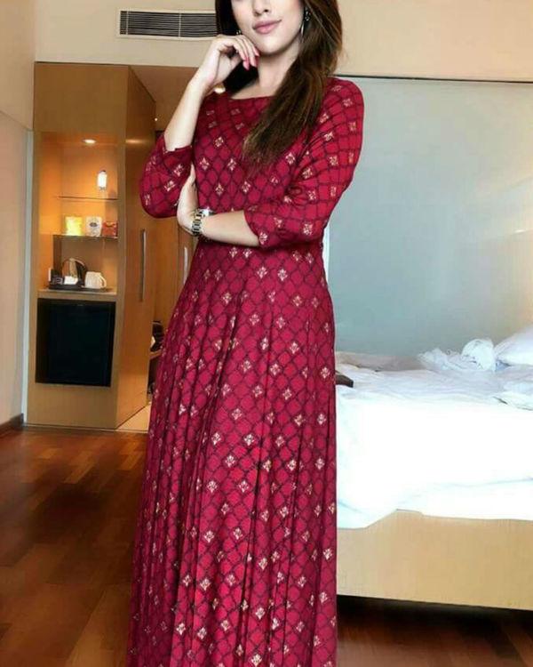 Royal maroon dazzle dress 1